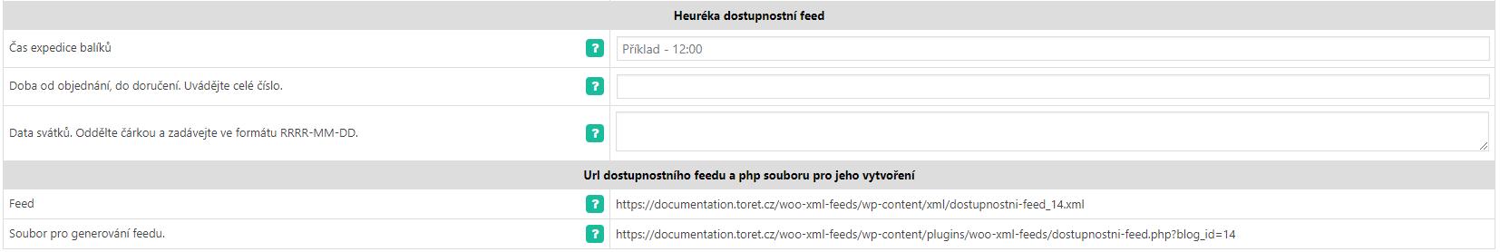 Heuréka Dostupnostní feed
