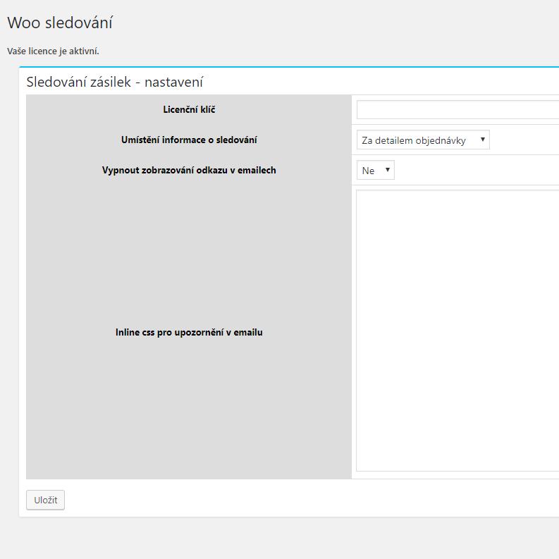 Nastavení pluginu WooCommerce Sledování Zásilek