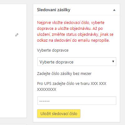 WooCommerce Sledování zásilky u objednávky