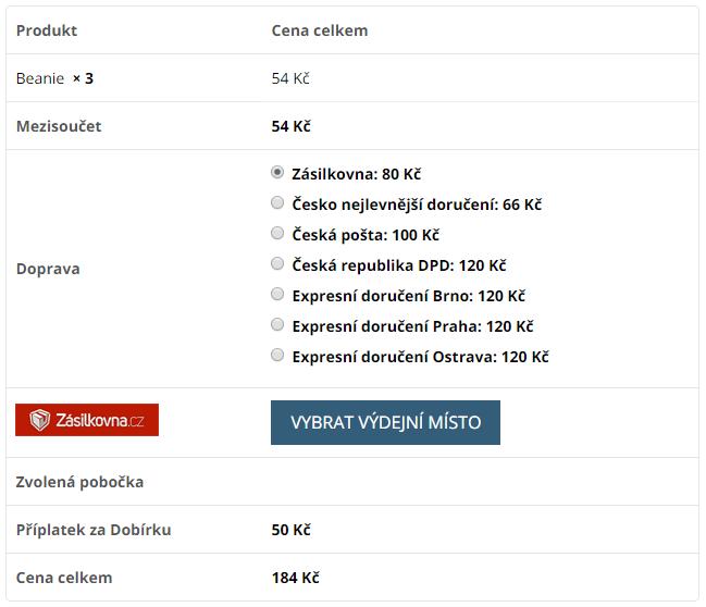 Zobrazení dopravy Zásilkovny v pokladně WooCommerce e-shopu