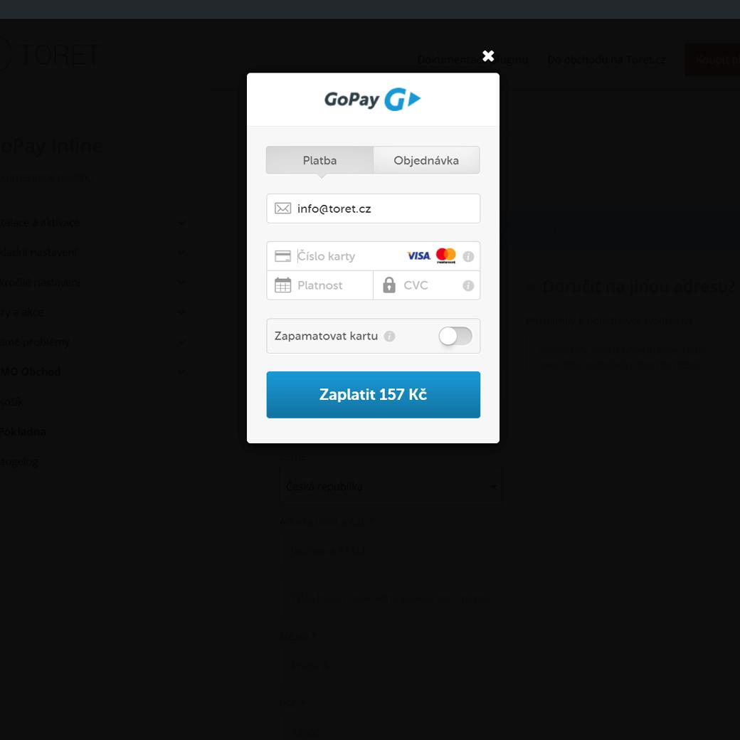GoPay Inline platební brána ve WooCommerce pokladně