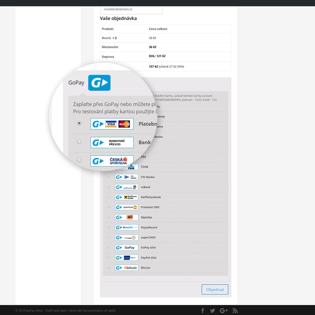 Platební metody GoPay Inline ve WooCommerce pokladně