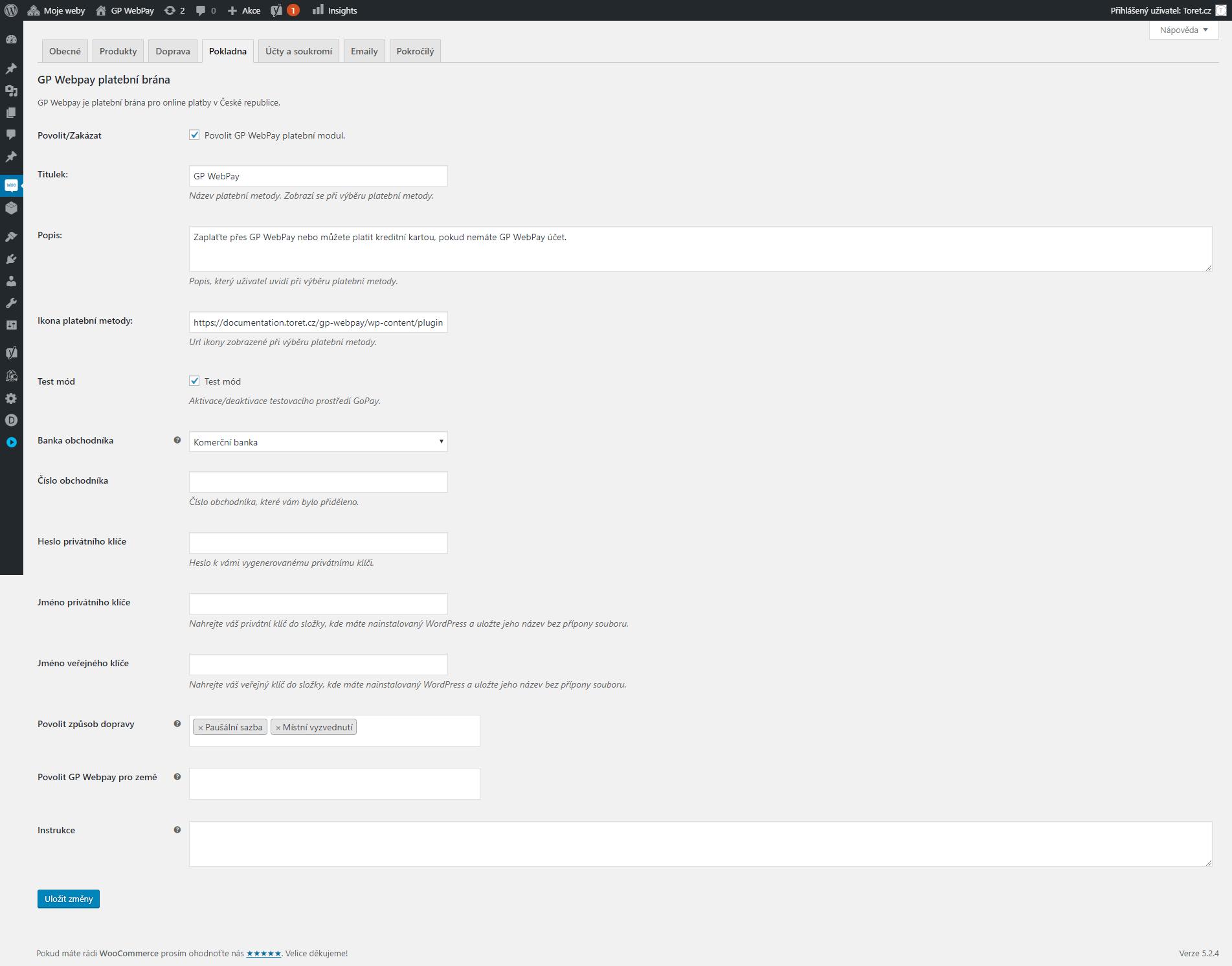 Nastavení platební brány GP webpay ve WooCommerce