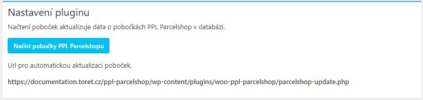Načtení poboček PPL Parcelshop v nastavení