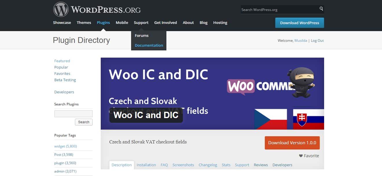 Aktualizace pluginu Woo IČ a DIČ na verzi 1.1.3