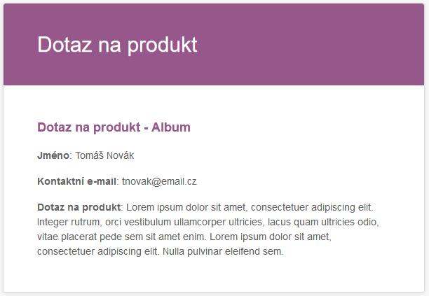 Odeslaný e-mail s dotazem na produkt