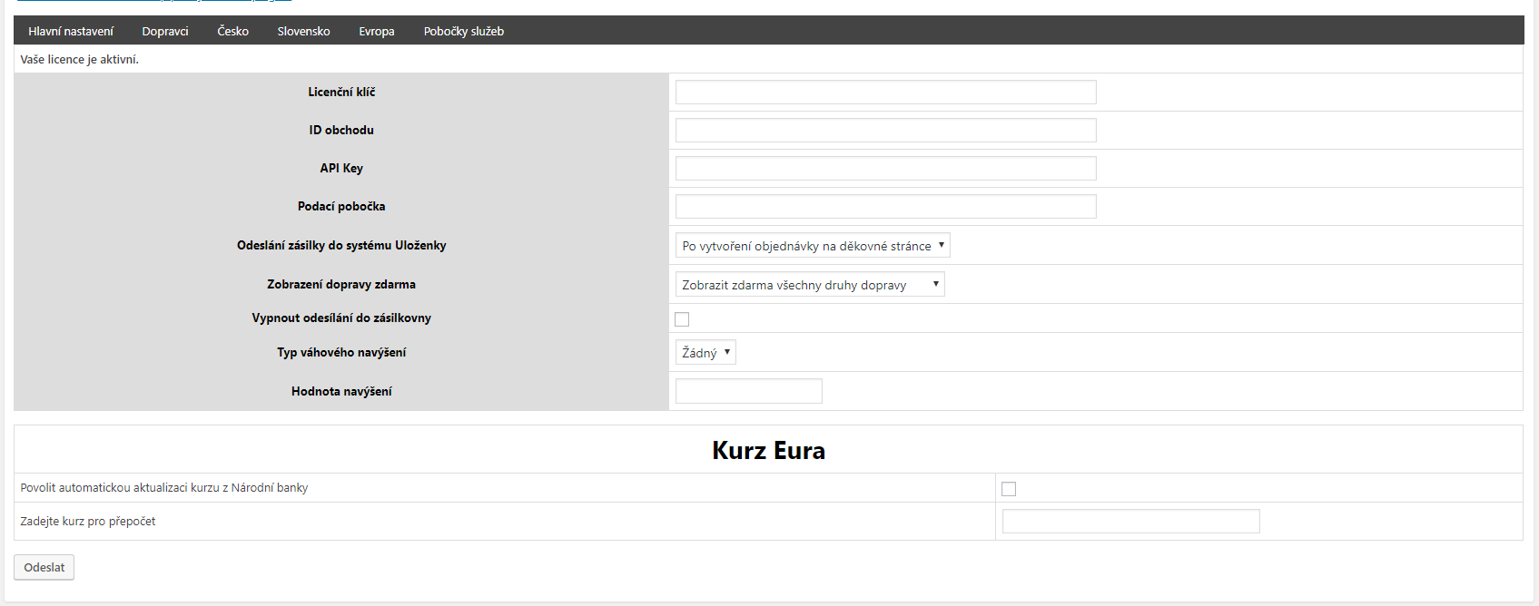 Nastavení pluginu WooCommerce Uloženka