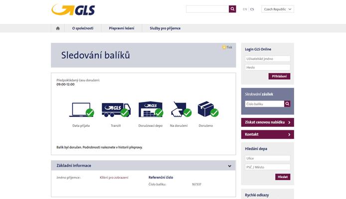 Sledování balíků na stránkách GLS