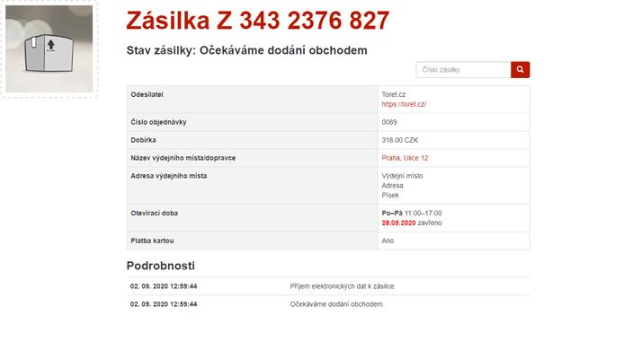 Trasovací číslo zásilky v Zásilkovně
