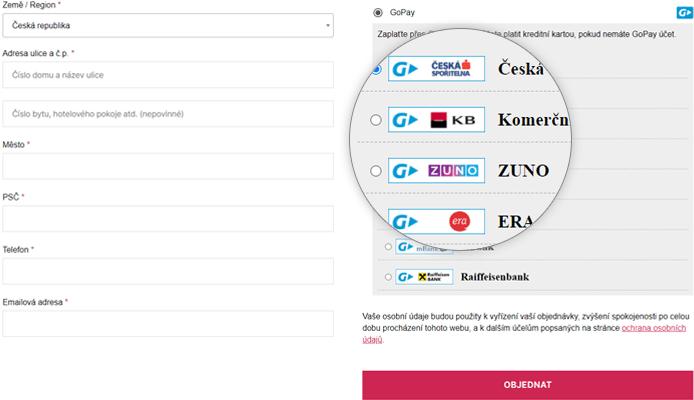Online platební tlačítka u pluginu GoPay