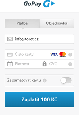Platba platební kartou přes GoPay