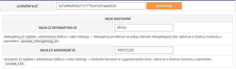 Nastavení Toret Sklik.cz