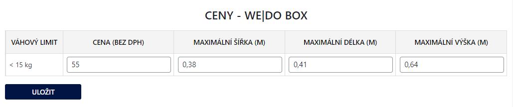 Toret WEDO - Maximální parametry zásilky