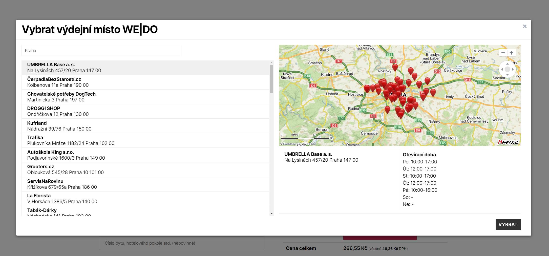 Toret WEDO - Přehledné zobrazení výdejních míst a boxů