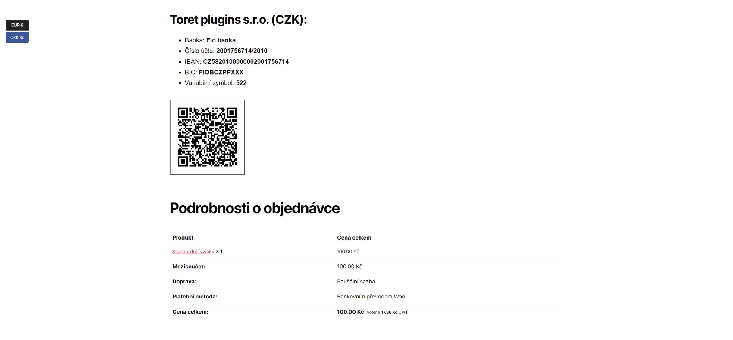 Objednávka v CZK a QR kódem pro český účet