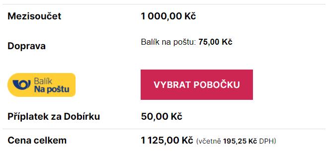 Toret Balík Na poštu - Výběr pobočky