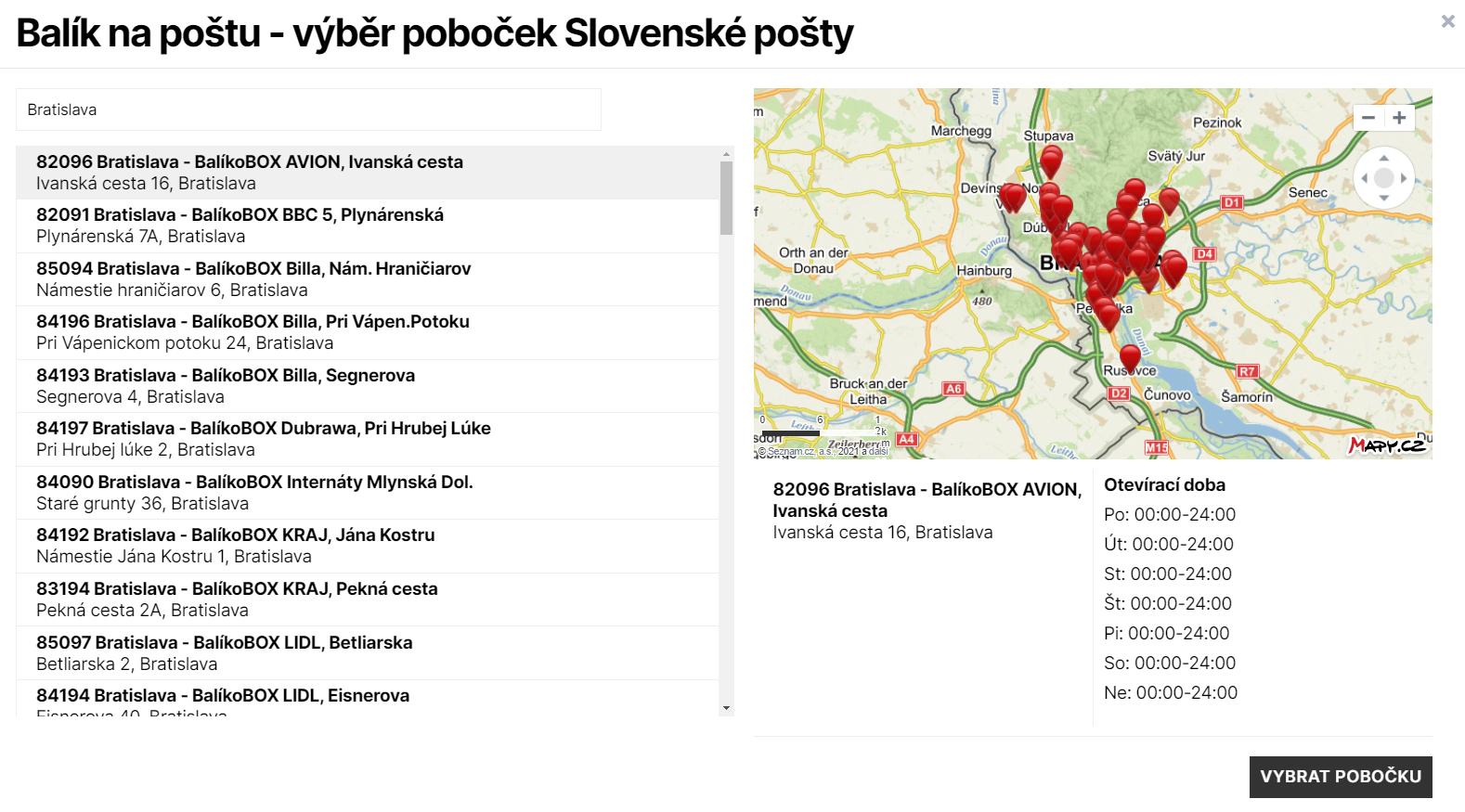 Toret Balík na Slovenskou poštu - Pop-up okno s pobočkami