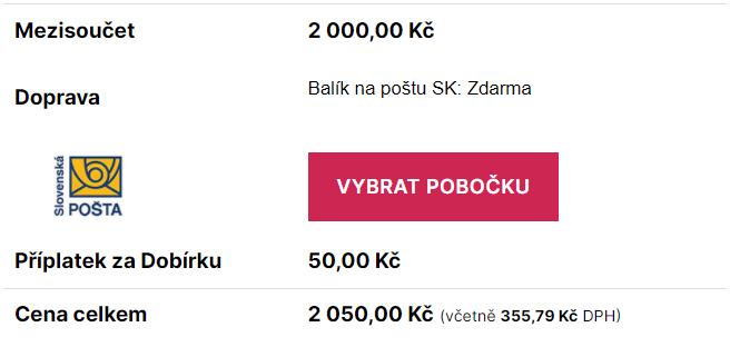 Toret Balík na Slovenskou poštu - Výběr pobočky