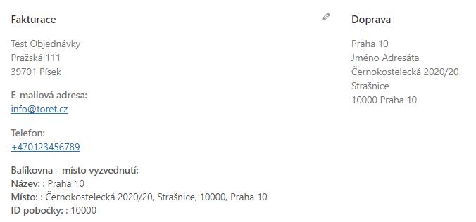 Toret Balíkovna - Adresa pobočky jako doručovací adresa u objednávky