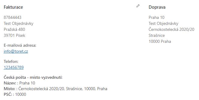 Toret Na Poštu - Adresa pobočky jako doručovací adresa u objednávky